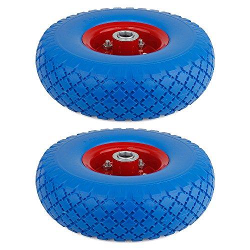 Preisvergleich Produktbild SPEED 2X Schubkarrenrad Vollgummi mit Achse PU Rad 3.00-4 Pannensicher Schiebkarre Reifen Ersat