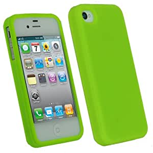 igadgitz Silikon Schutzhülle Hülle Tasche Etui Case Skin in Grünn für Apple iPhone 4 HD & 4S 16GB, 32GB, 64GB + Display Schutzfolie