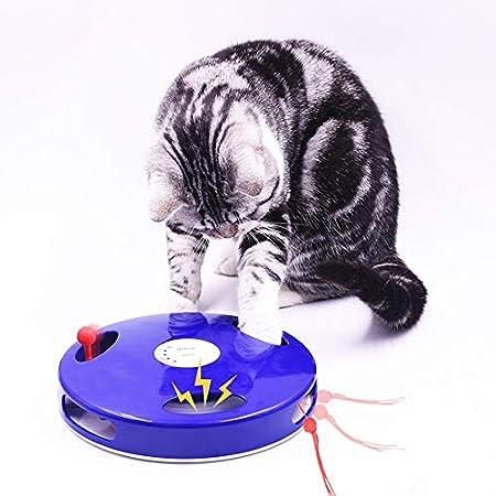 Parain Elektrisch Katzenspielzeug | 5 einstellbare Spiel-Modi | 360 Grad Rotation | Imitiert Geräusche von Mäusen/Ratten…
