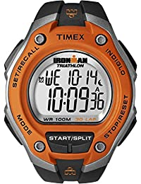 Timex Men's T5K529 Watch with Orange Dial Digital Display and Black Resin Strap