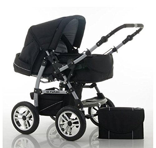 "14 teiliges Qualitäts-Kinderwagenset 2 in 1 ""FLASH"": Kinderwagen + Buggy - Megaset – all inklusive Paket in Farbe SCHWARZ"