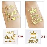 Cusfull lot de 12 Team Bride Tattoos temporaire Tatouage de mariage Décoration fête d'enterrement de Vie de Jeune fille