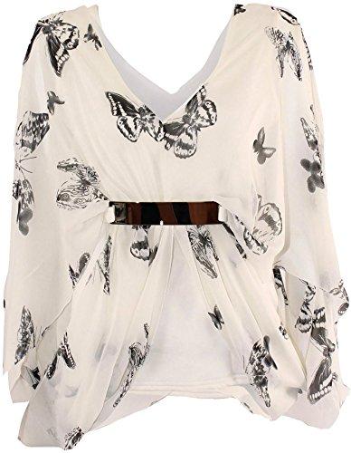 Damen Übergröße Gold, Schmetterling mit Fledermausärmeln Drape Tops 18-24 (Kimono Belted Top)
