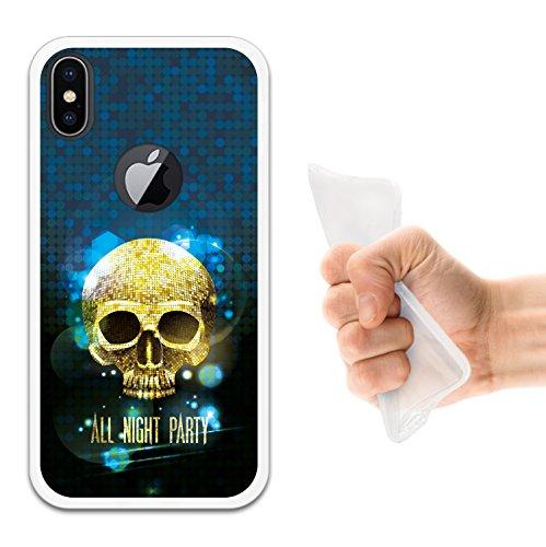 iPhone X Hülle, WoowCase Handyhülle Silikon für [ iPhone X ] Rosa zuckeriger Totenkopf Handytasche Handy Cover Case Schutzhülle Flexible TPU - Transparent Housse Gel iPhone X Transparent D0351