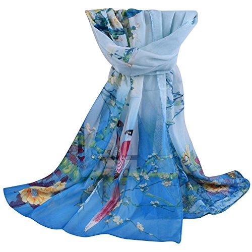 Dexinghaoye donne magpie stampa floreale sottile chiffon sciarpa primavera autunno lungo scialle mantello, chiffon, peacock blue, 160cm x 50cm (approx.)