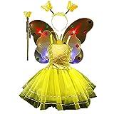 TGP Schmetterling Kostüm für Mädchen - 4-teiliges Set - Feenflügel/Schmetterlingsflügel Verkleiden - Fuchsia mit Haarreif -Flügel leuchten (Yellow)
