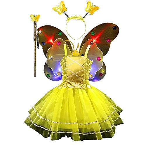 TGP Schmetterling Kostüm für Mädchen - 4-teiliges Set - Feenflügel/Schmetterlingsflügel Verkleiden - Fuchsia mit Haarreif -Flügel leuchten ()