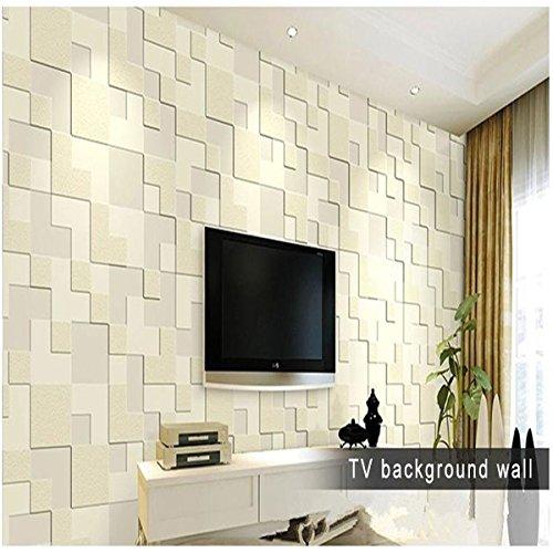 Preisvergleich Produktbild Bluelover 10M Moderne Einfache 3D Mosaik Living Zimmer Vlies-Tapete Home Hintergrunddekoration-Grau