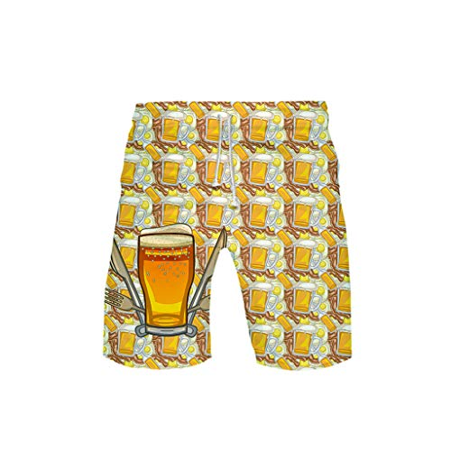 3-D Printed Beer Festival Leisure Beach Pants(Gold,L) ()