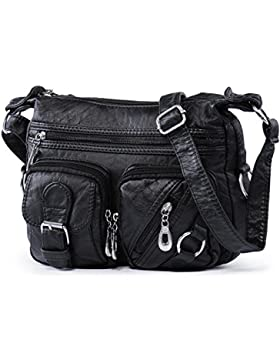 Hengwin Damen Gewaschen Leder Vintage Mittel Schultertasche Umhängetasche Handtaschen mit Viele Reißverschluss...