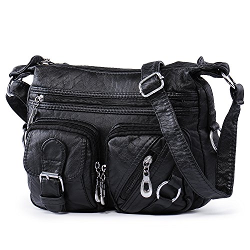 - 51OaLfkgtYL - Hengying Women Vintage Washed Leather Cross Body Shoulder Bag with Many Pockets – Black
