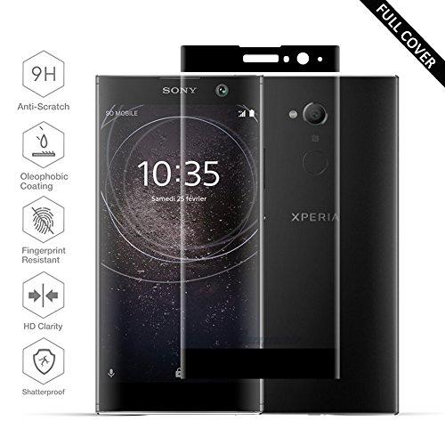 Beyeah Panzerglas Bildschirmschutzfolie für Sony Xperia XA2, 9H Härte, Anti-Kratzen, Anti-Öl, Anti-Bläschen, (Schwarz)