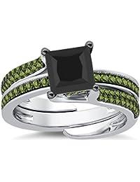 Silvernshine Interchangable Engagement Ring Set 14K White Gold Plated 2.35Ct Peridot Sim Diamonds