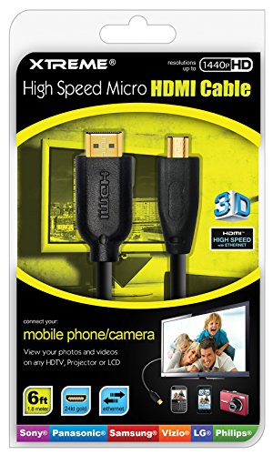 Xtreme 74206druckknopfstiel High Speed Micro HDMI Kabel mit Ethernet Kanal