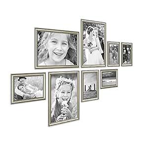 photolini 8er bilderrahmen collage silber barock antik aus kunststoff inklusive zubeh r foto. Black Bedroom Furniture Sets. Home Design Ideas