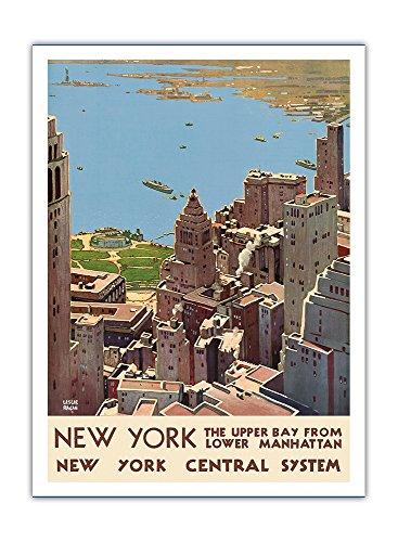 New York, USA - Blick auf die Upper Bay von Lower Manhattan - Hafen von New York - New York Zentralsystem - Vintage Retro Eisenbahn Reise Plakat Poster von Leslie Darrell Ragan c.1920s - Premium 290gsm Giclée Kunstdruck - 30.5cm x 41cm (Bay Upper)