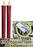 echtwachs LED Stab Kerzen rot mit realer Lichtoptik und Fernbedienung