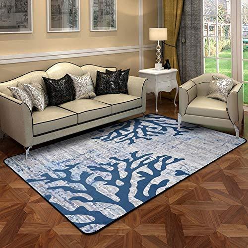 Coral Moderner Teppich (MU Europäischen Stil Teppich Wohnzimmer Schlafzimmer Couchtisch Matte Nachttisch rechteckigen Teppich Coral Muster Foto Teppich,D,180 * 180)