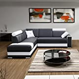 große Ecksofa Sofa Eckcouch Couch mit Schlaffunktion und Bettkasten Ottomane L-Form Schlafsofa Bettsofa Polstergarnitur - JACKSON (Ecksofa Links, Schwarz)