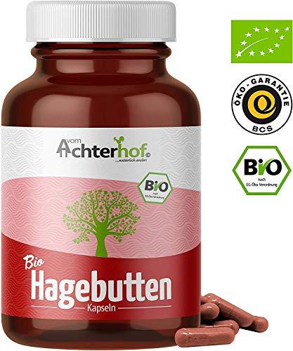 Hagebutten Kapseln hochdosiert Bio - 180 Stück - 500mg reines Hagebuttenpulver pro Kapsel - ohne Zusätze - vegan - laborgeprüft