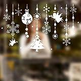 Saingace® Weihnachtssticker,Weihnachten Schaufensterdekoration -Wand-Aufkleber Weihnachten Schneeflocken Stadt Wandaufkleber Wandtattoo Wandsticker