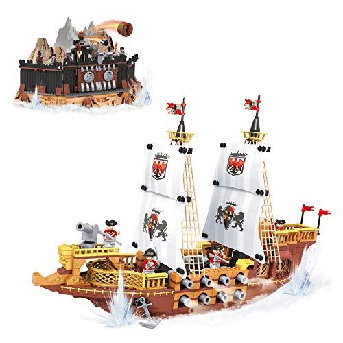 AUSINI Piraten- und Bootsbausteine, 850 Teile, Mehrfarbig (ColorBaby 42859) (Lego Piraten-teile)