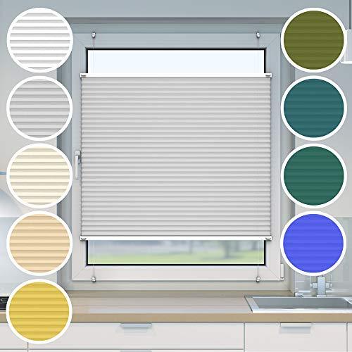 Victoria M. Store plissé à clipser - Montage «EasyFix» sans percer- Store plissé facile à poser sans perçage, taille: 45 x 120 cm, couleur: gris