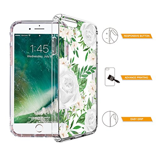 Tropical Case for iPhone 7 Plus iPhone 8 Plus White Roses Leaves