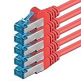 10m - Rot - 5 Stück - CAT6 Ethernet LAN Netzwerkkabel SET beinhaltet: 10 / 100 / 1000 / 10000 / Mbit / s, Patchkabel, Patchkabel, CAT6u, S-FTP uchtig, doppelt geschirmt, PIMF +/- 250MHz, Halogenleuchtmittel geeignet für CAT 5 / CAT 6a / CAT 7, für Switch, Router, Modem, Patchpannel, Access Point