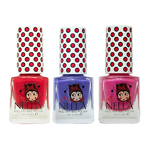 Miss Nella Strawberry Cream, Sweet Lavender, Tickle Me Pink Special Glitter Kids Nail Polish with Peel-off Water Based Formula by MissNella -