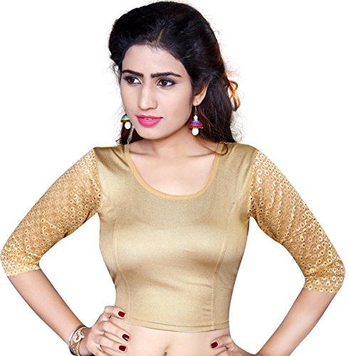 Pdezaart Streatchable Designer Shimmer Free Size Readymade Golden Blouse For Women