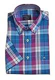 Casa Moda - Casual Fit - Herren Freizeit 1/2-Arm-Hemd in Verschiedenen Farben mit Button-Down-Kragen (983079000), Farbe:Türkis (350), Größe:4XL