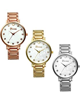 Lancardo 3pcs Damen Armbanduhr, Ultra dünn elegant Analog Quarz Damenuhr mit künstliche Schalen Design weiss Zeitlos...