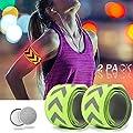 TBoonor LED Armband 2 Stück Reflektorbänder für Nacht Sicherheits Leuchtarmbänder für Kinder/Erwachsene Helles Blinklicht Reflektorbänder für Outdoor-Sport, Nachtlauf Running, Jogging