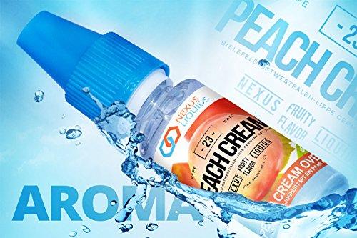 Preisvergleich Produktbild 1 x 10 ml / PFIRSICH / AROMA / E-LIQUID / Made in Germany! / 0 mg Nikotin / für E-Zigaretten,  E-Shisha / ezigarette / eshisha / Elektronische Zigarette / E Flüssigkeit / Mischen mit Basisliquid / Peach Cream Overdose Aroma by Nexus Liquids
