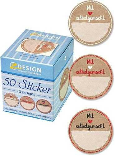AVERY Zweckform 56818 Sticker auf Rolle, Marmelade (38 mm, im Spender) 50 Aufkleber
