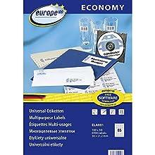Europe100 Ela001 Étiquettes universelles, 38 x 21,2 mm 38 x 21.2 mm