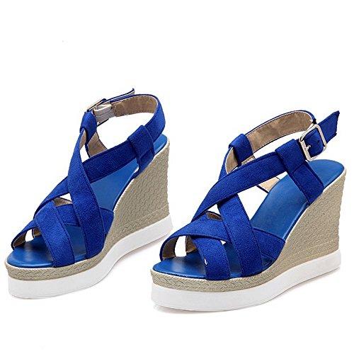 COOLCEPT Damen Mode-Event Strappy Plateau Keilabsatz Heels Sandalen Slingback Blau