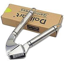 Prensa de ajo, Dailyart de acero inoxidable ajo trituradora apretones exprimidor (plata)