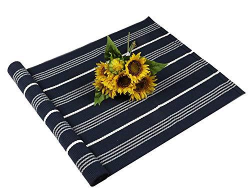 Famibay tappeti lavabile a mano in cotone antiscivolo tappeto fatto a mano in tessuto per bagno soggiorno 60x130 cm(profondo blu)