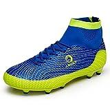LEOCI Kinder Fußballschuhe AG Spike Microfaser Cleats Jugendliche Beruf Athletics High Top (38, Blau)