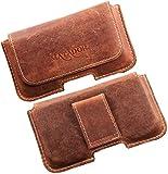 Echt Leder Gürteltasche von Matador Tasche Case Hülle Handytasche Quertasche für Huawei P8/P8 Lite in Antik Konjak Vintage Style mit verdecktem Magnetverschluß und Gürtelschlaufe