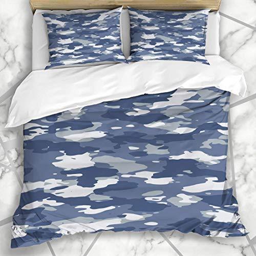 Soefipok Bettwäschesets Marine Navy Camoflauge Urban Blau Breit Camo Muster Abstrakt Camouflage Camoflage Army Color Combat Mikrofaser Bettwäsche mit 2 Kissenbezügen