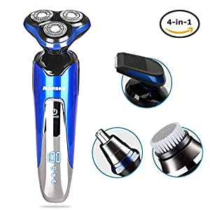 Electric Shaver Men 4 In 1 Electric Razor 4D Wet Dry Rotary Shaving Razors with IPX6 Waterproof & Stroke Locking Function Beard Trimmer Rechargeable with Adapter Trimmer Grooming Kit for Men