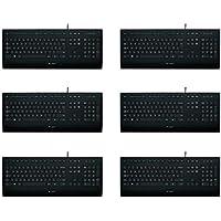 Logitech K280e Tastatur (Kabelgebunden, Business-Tastatur, QWERTZ, Deutsches Layout) schwarz (Schwarz | 6er Pack)