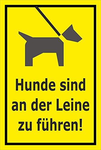Melis Folienwerkstatt Schild - Hunde an Leine führen - 15x10cm | Bohrlöcher | 3mm Aluverbund - S00216-003-C -20 VAR. - 15 Leinen