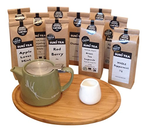 olive-green-suki-forlife-18oz-stump-loose-leaf-teapot-with-bamboo-tray-creamer-suki-tea-100g-breakfa