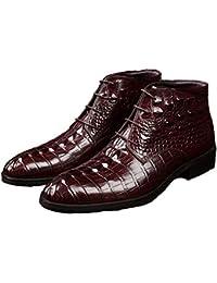 ZHRUI Botas Chukka para Hombres Botas con patrón de cocodrilo de Cuero Genuino de Suela Blanda (Color : Rojo,…