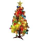 GODNECE Albero di Natale Artificiale con Illuminazione, Mini Desktop Albero di Natale Artificiale con Stabile Supporto e Frutta, Illuminazione LED, Biglietto di Natale, ECC.