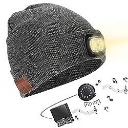Powcan Wintermütze mit Licht Wireless Bluetooth 5.0 Music Mütze 4 LED Hut USB aufladbare Caps für Männer Frauen warme Strickmütze LED Cap Licht